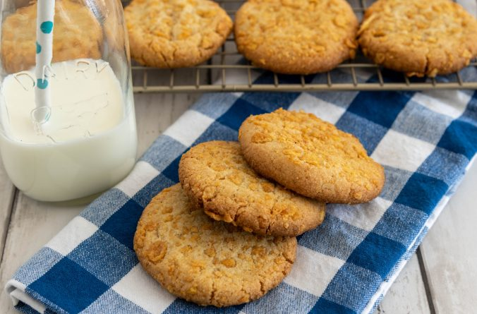 Ginger Cornflake cookies and milk