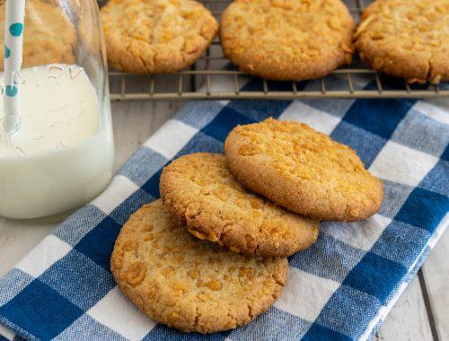 Ginger Cornflake cookies and milk