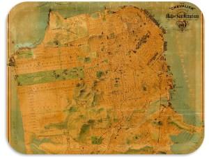 "San Fransisco Street map 1911 17""x13"" TV tray"