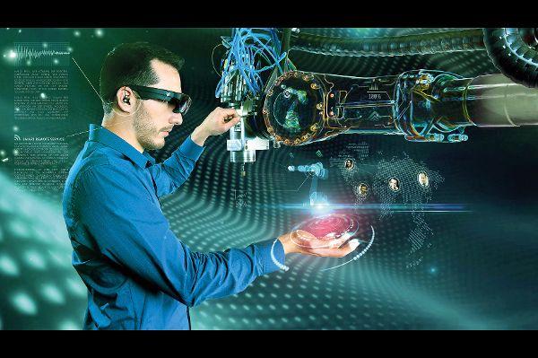 Brillenträger am Arbeitsplatz der Zukunft
