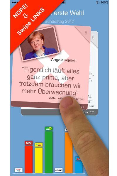 Digitaler Wahlhelfer im Stil einer Dating-App für Erstwähler