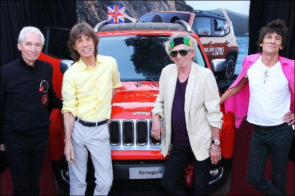 Die Rolling Stones mit Jeep auf Tour