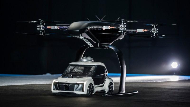 Das neuartige Flugtaxi-Konzept kombiniert ein selbstfahrendes Elektroauto mit einer Passagierdrohne. © Audi /TRD auto und Zweirad