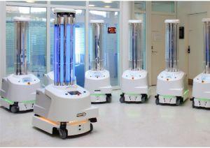 Der Desinfektionsroboter UVD sorgt im autonomen Einsatz für virenfreie Krankenzimmer. © IFR / Blue Ocean Robotics / TRD Digital und Technik