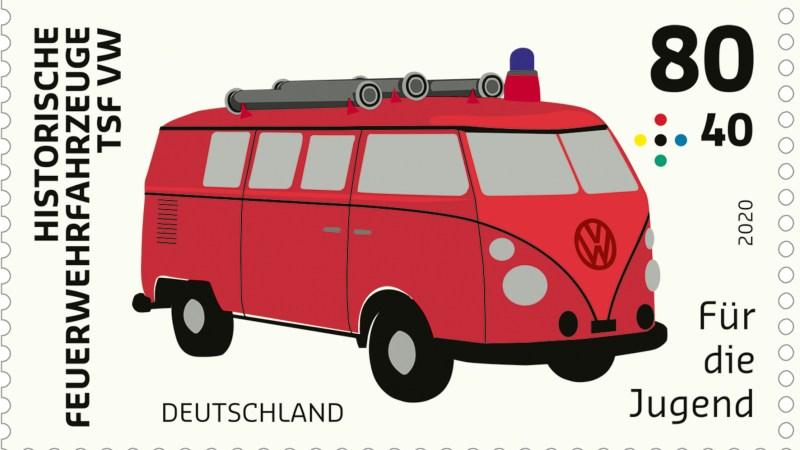 Sondermarke mit Feuerwehrauto