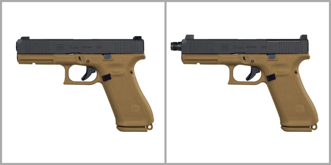 PSA Glock 17 Gen 5, versions standard (à gauche) et MOS (à droite) (photo-simulation TRE).