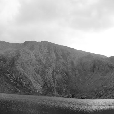 Strange angled panorama of the Glyderau and Llyn Idwal.