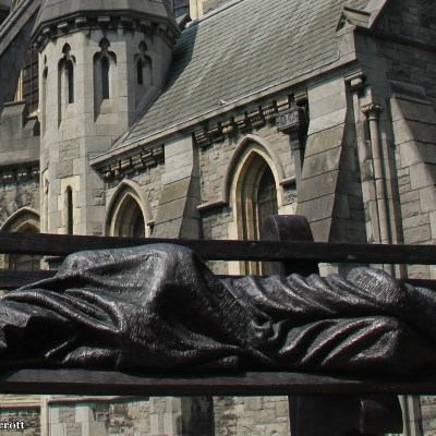 Homeless Jesus sculpture at Christ Church Cathedral
