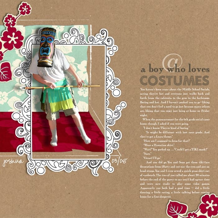 Using Narrative in a scrapbook page