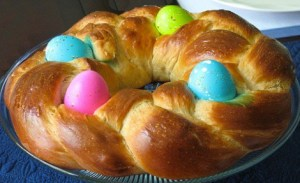 Food traditions include Italian Egg bread