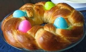 Food traditions include Italian Egg bread