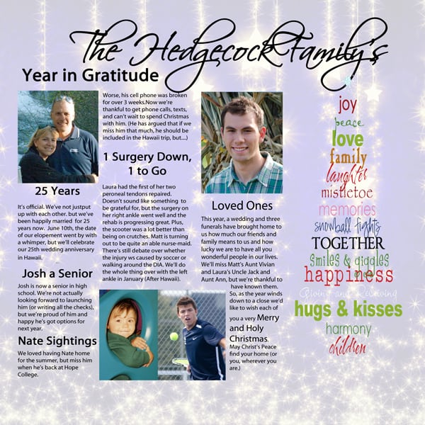Thankful for a Year Scrapbook Layout