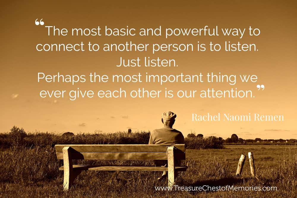 Listening skills and conversation keys to stories