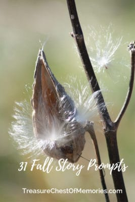 Fall Story Prompt pinnable image with Seeds leaving the milkweed pod in Fall