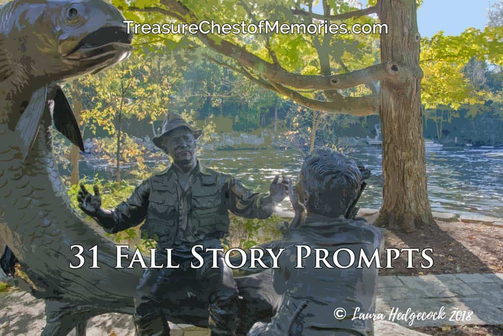 31 Fall Story Prompts graphic with a statue of a man telling fish stories