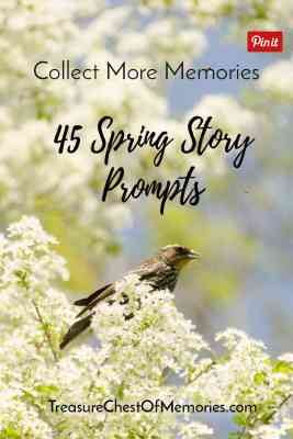 45 Spring Story Prompts pinnable graphic