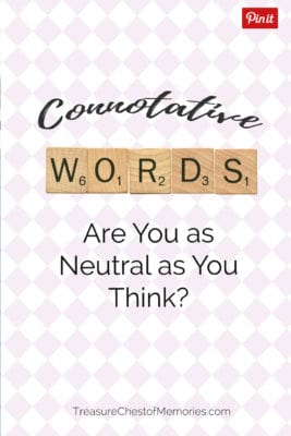 Connotative words pinnable image with scrabble tiles