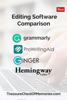 Pinnable Graphic for Editing software comparison showing logs of Grammarly ProWritingAId Ginger and Hemmingway