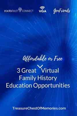 Great virtual Family history Education Opoportunities Pinnable graphic