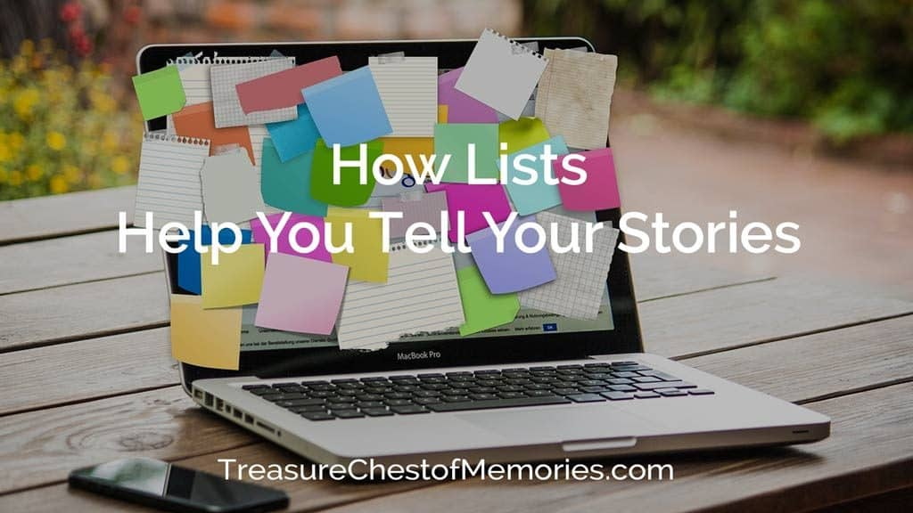 Cover image for how Lists help tell stories with a laptop with post-it notes