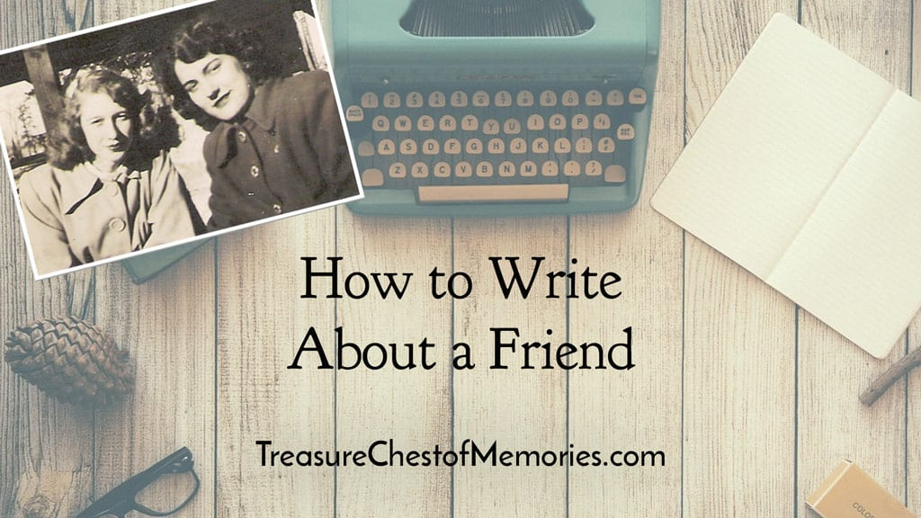 How to Write about a friend Graphic with typewriter and photo