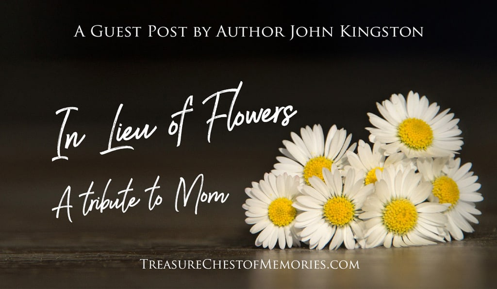 In Lieu of Flowers Graphic with daisys and the post title