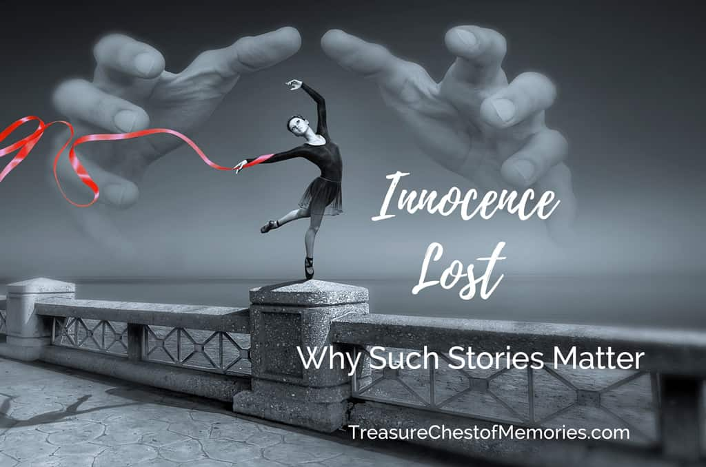 Innocence Lost Graphic with girl dancing and clouds like hands