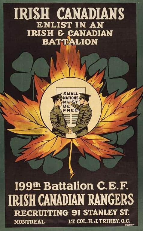MOntreal in 1916 Irish Battalion Recruiting Poster