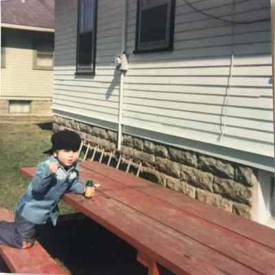 John at picnic table