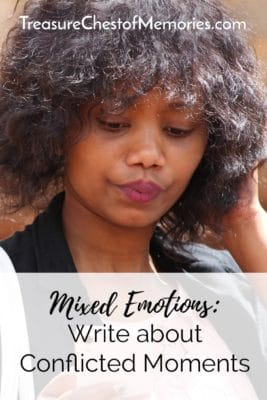 Pinnable image about mixed emotions with photo of a girl looking conflicted