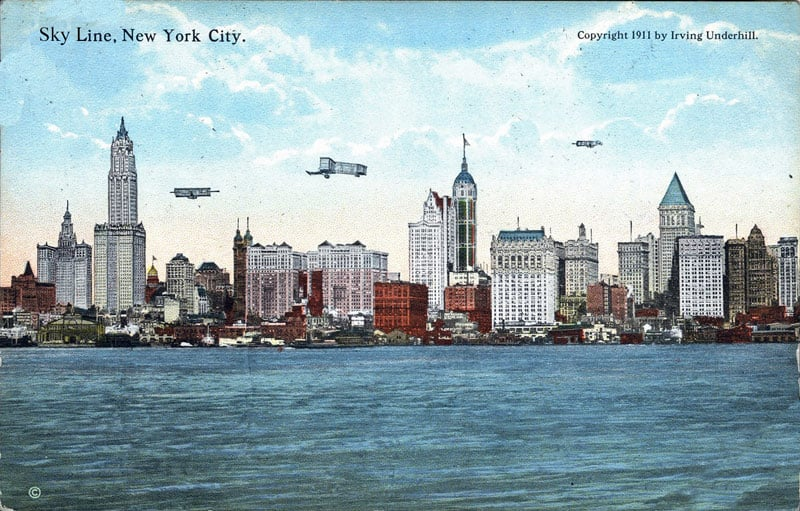 Post card of skyline of New York City in 1916