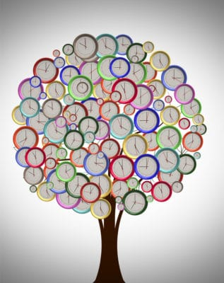 Family Past as clocks on a tree