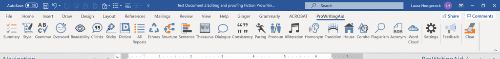 Screenshot of ProWritingAid's Word Add-in Menu