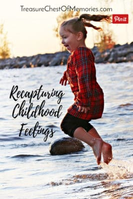 Recapturing Childhood feelings Pinnable Graphic with child in water