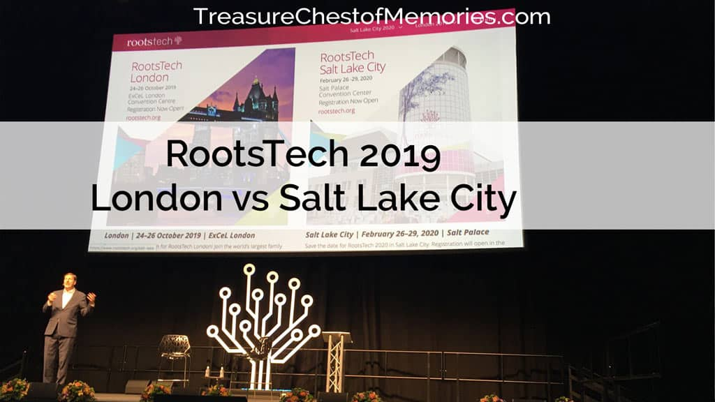 RootsTech London versus RootsTech Salt Lake City Graphic