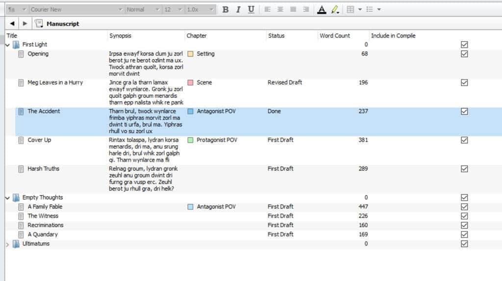 Screen shot of Scrivener's outline mode in a sample project
