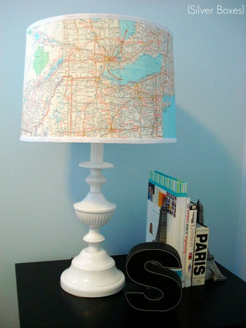 Example of Craft using Maps from http://stephssilverboxes.blogspot.com/2012/01/lamp-revamp.html