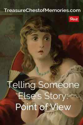 Pinnable Graphic telling someone else's story Point of view with a girl reading