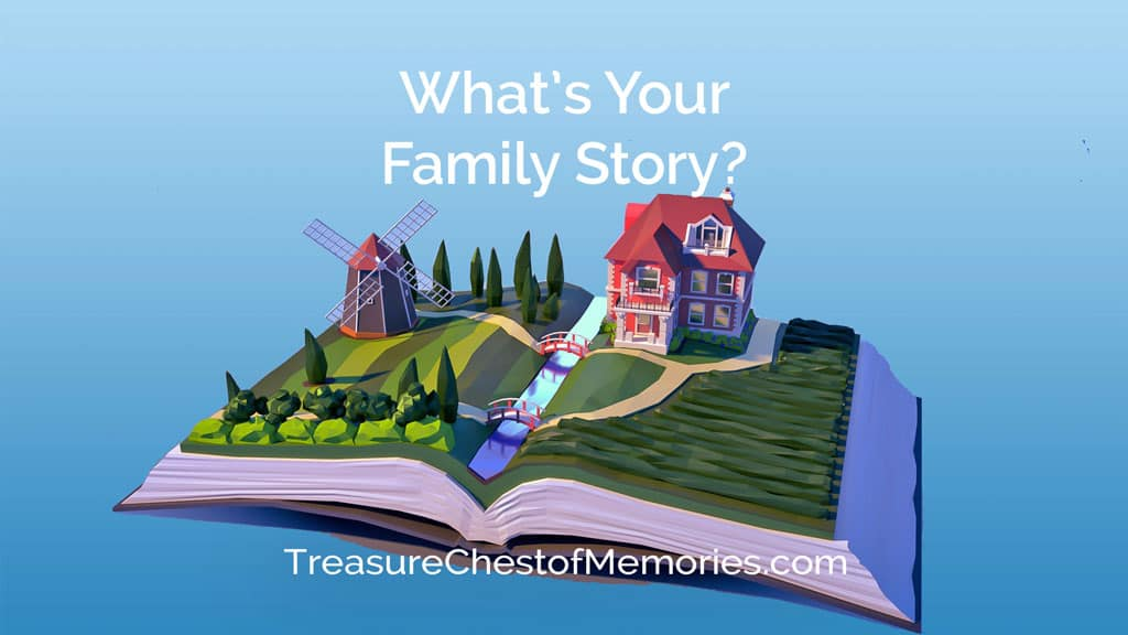What's Your Family Story Headline Graphic with Home and fields and windmill