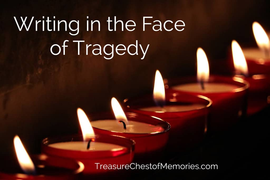 Writing in the face of tragedy graphic with candles