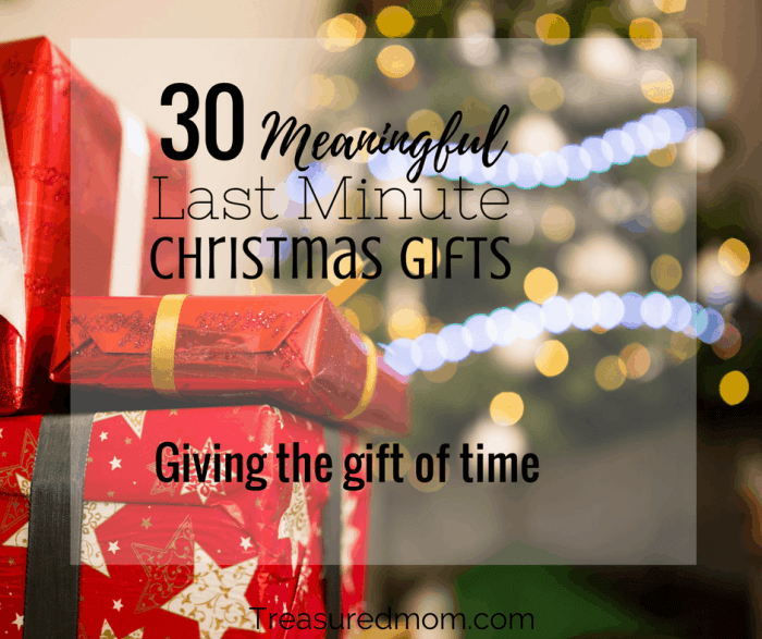 Are you trying to figure out some meaningful Last Minute Christmas Gifts? Read here to see 30 meaningful gift of time ideas. Use the free printable Gifts of Time Coupons to give your loved ones.