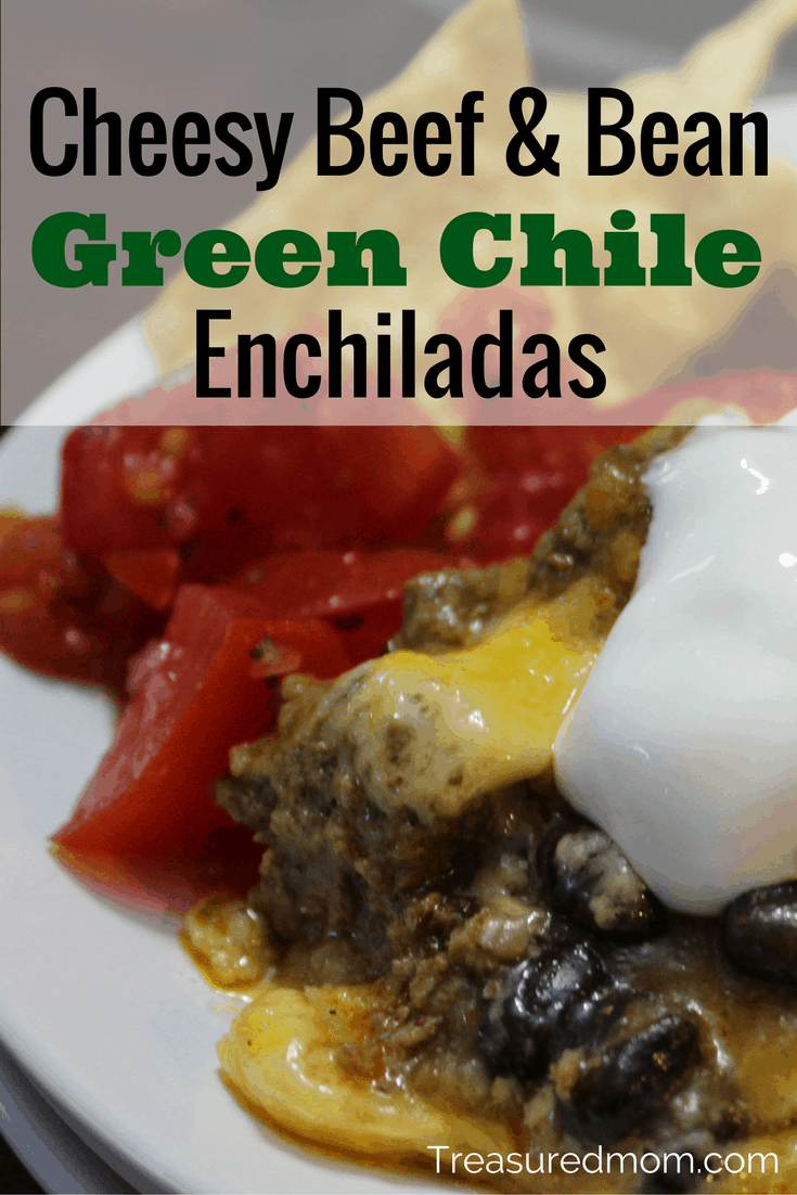 This Cheesy Beef and Bean Green Chile Enchilada Casserole is so amazing! The blend of green enchilada sauce with the beef and cheese is a delicious combination. You've got to make these today!