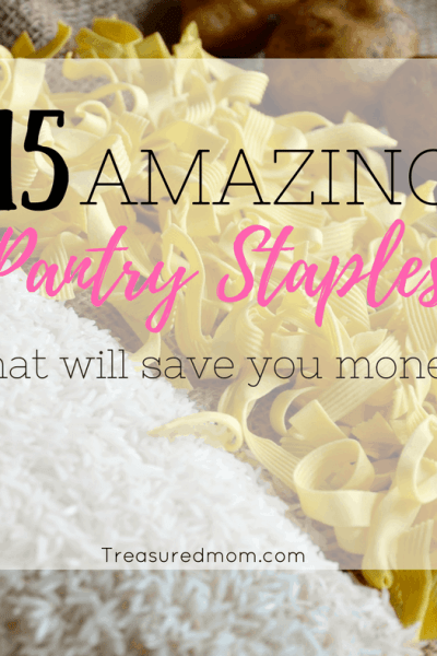 Staying stocked up with Frugal Pantry Staples will help you save money and save time. Free Shopping List.