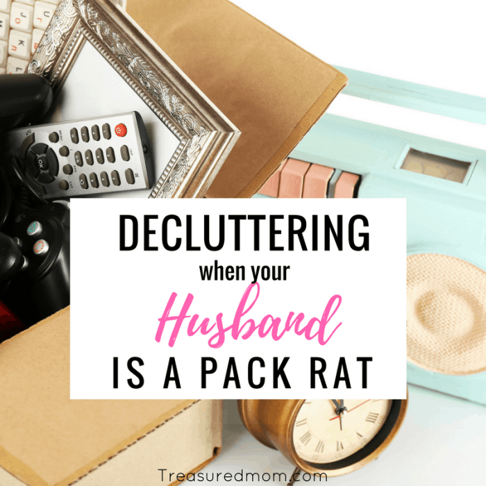 Decluttering when your husband is a pack rat is so hard, but it is possible. Learn to work at decluttering with your husband and not against him.
