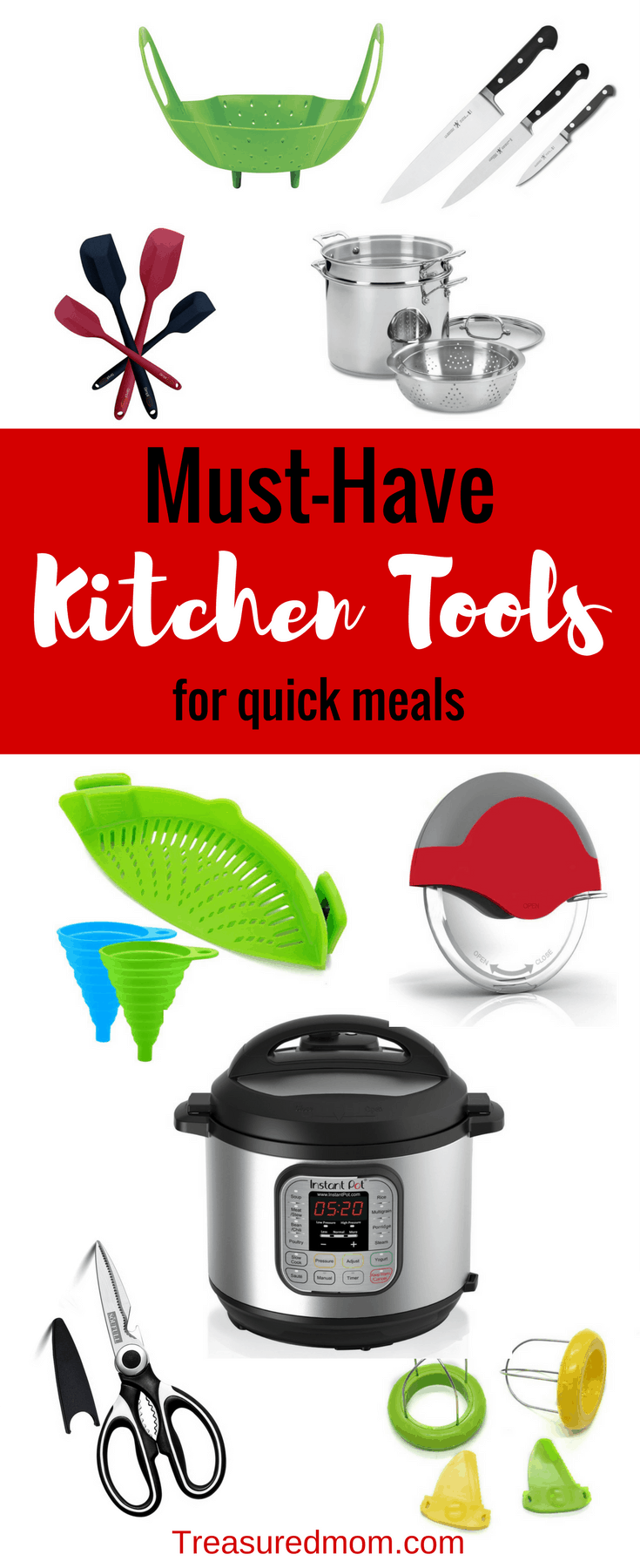 Have the right kitchen tools for quick meals and you'll be ready for busy nights. Eat at home to save money, time and health. You can quit eating out today. These make perfect gifts for moms, gifts for cooks, and gifts for women.