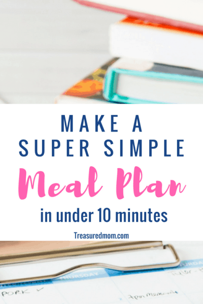 stack of books and clipboard for super simple meal plan
