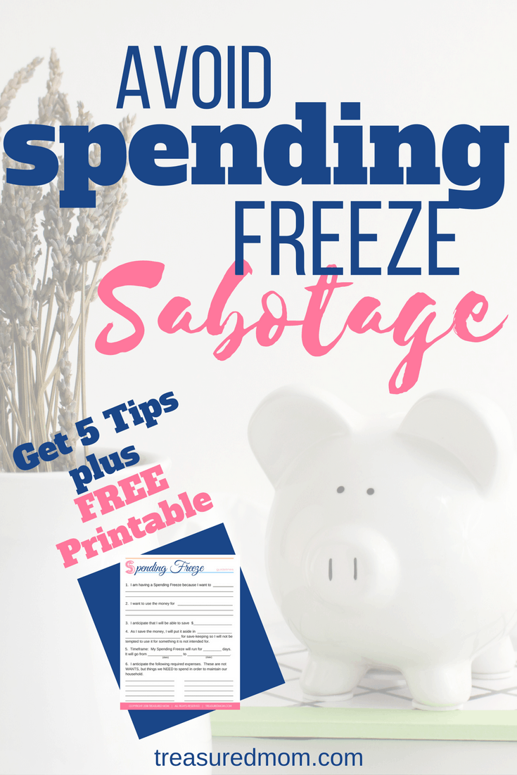 These 5 spending freeze tips will help you face your next challenge. So many things will come up to sabotage you, but you can be successful! The ideas here will help you save tons of money this month, week, or weekend.  Free Printable Plan