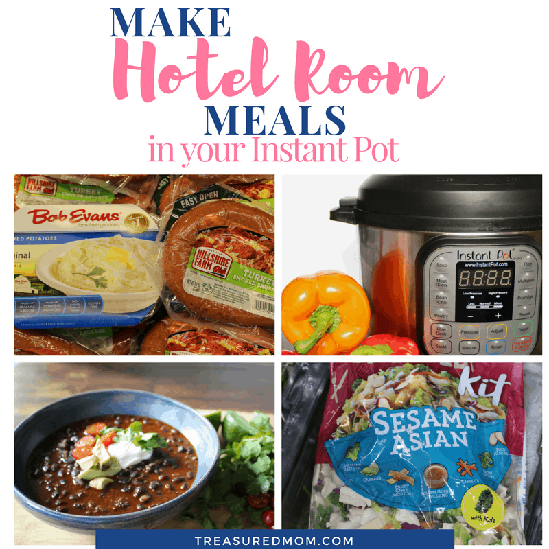 Hotel Room Meals in Your Instant Pot, soup, asian salad, mashed potatoes, sausage