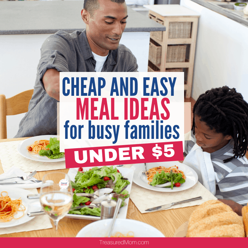 family at table eating cheap and easy meal