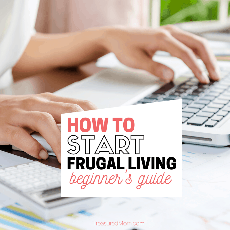 woman paying bills at computer for how to start frugal living post